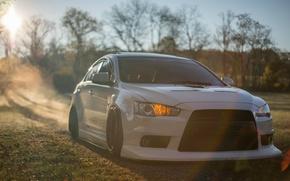 Picture forest, white, summer, the sun, the reflection, Mitsubishi Evo X