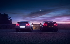 Picture GTR, Moon, Nissan, Sky, Black, Lights, White, R35, Rear, Nigth