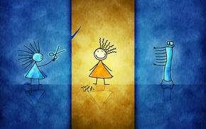 Wallpaper glass, orange, blue, yellow, paper, desktop, flat, girls, figure, punk, freak, hairdresser, glass, haircut, children