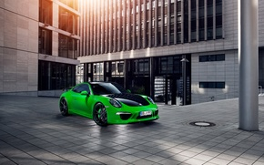 Wallpaper tuning, green, Porsche, techart, porsche 911 carrera 4s