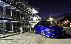 Picture machine, auto, pier, sedan, subaru, blue, wrx, impreza, Subaru, Impreza, ship