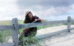 Picture girl, mood, the fence, book
