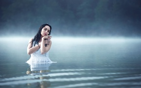 Picture girl, fog, lake, calm, in the water, peace