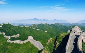 Picture trees, mountains, China, The great wall of China