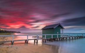 Picture the sky, clouds, lake, shore, pier, glow, house
