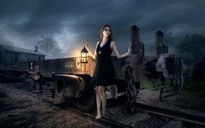 Picture girl, rails, lantern, fantastic artworks, Nors
