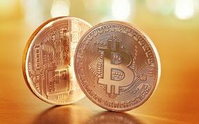 Wallpaper metal, currency, bitcoins