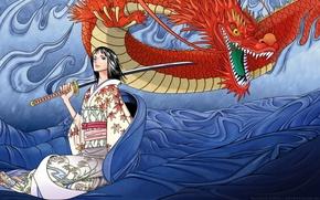 Picture fantasy, dragon, warrior. katana