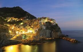 Picture sea, the sky, mountains, night, lights, rocks, village, Italy, Manarola, Liguria, Marina boats
