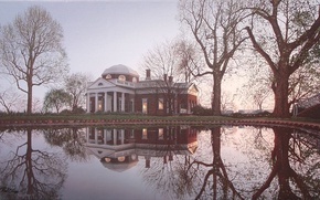 Wallpaper house, pond, reflection, spring, USA, USA, painting, mansion, estate, painting, Rod Chase, Virginia, Virginia, Monticello, ...