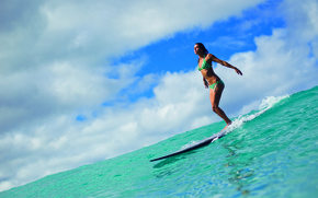 Picture the sky, girl, clouds, the ocean, surfing, Board, surfing