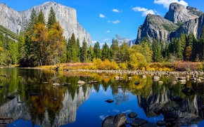 Picture autumn, forest, the sky, clouds, trees, mountains, lake, reflection, river, stones, rocks, Yosemite, National Park, ...