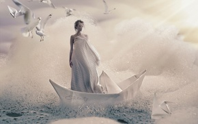 Picture foam, girl, birds, creative, seagulls, paper boats