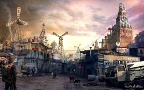 Picture dogs, people, Moscow, art, the Kremlin, ruins, buildings, postapocalyptic, shacks