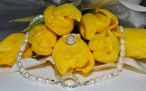 Wallpaper flower, flowers, roses, yellow, Bud, ring, tulips, decoration, necklace, yellow