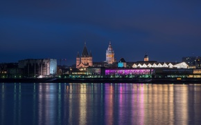 Picture night, lights, river, home, Germany, Church, promenade, Mainz