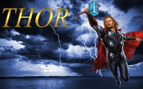 Picture red, storm, steel, lightning, heaven, God, hammer, costume, cloak, superhero, iron, marvel, Thor, Thor, thunder, ...