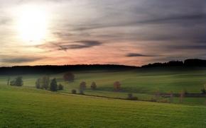 Wallpaper hills, the sky, Field, clouds