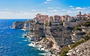 Wallpaper sea, the sky, the city, rocks, home, on the edge, Corsica