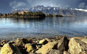 Picture trees, mountains, lake, stones, New Zealand, Queenstown