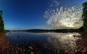 Picture the sky, clouds, landscape, sunset, lake, birch
