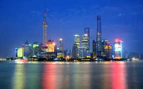 Wallpaper night, lights, reflection, mirror, China, Shanghai, Oriental Pearl Tower, Shanghai Tower, Shanghai World Financial Center, ...