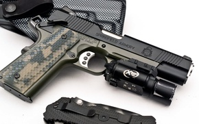 Wallpaper Gun, knife, USA, holster, M1911, Springfield, Armory, surefire, Operator, cal. 45