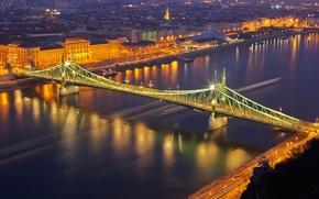 Picture night, bridge, lights, river, panorama, Hungary, Budapest, The Danube