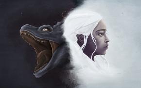 Picture dragon, daenerys targaryen, girl, art, khaleesi, game of thrones