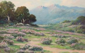 Picture flowers, mountains, slope, Alexei Matthew