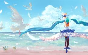 Picture the sky, girl, clouds, landscape, birds, the ocean, shore, anime, art, vocaloid, hatsune miku, 7th …