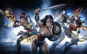 Picture weapons, girls, star, Shine, sword, heroes, Wonder woman, jerk