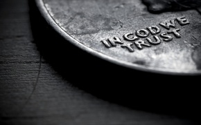 Picture macro, words, in god we trust, coin