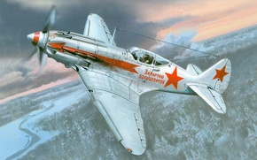 """Picture winter, forest, the sky, clouds, earth, figure, fighter, The MiG-3, Soviet, tall, WWII, """"For the ..."""