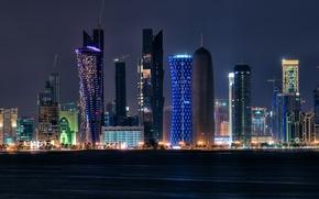 Picture night, lights, Qatar, Doha