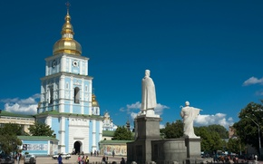 Picture summer, the sky, people, area, monument, Cathedral, Ukraine, Kiev, Mikhailovsky