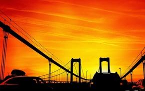 Wallpaper vector, Bridge, sunset