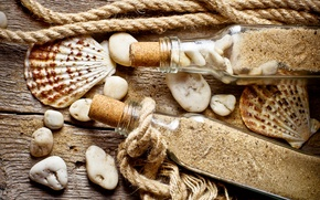 Picture sand, stones, shell, rope, bottle, old wood
