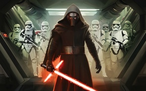Wallpaper Action, Sci-Fi, The, Dark, Kylo Ren, Force, Sword, StarWars, Wallpaper, Fantasy, Laser, Walt Disney Pictures, ...