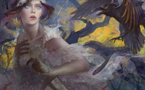 Picture fright, art, lantern, Raven, flight, drawn girl