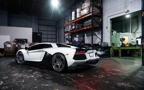 Wallpaper Lamborghini, White, Matte, Tuning, LP700-4, Aventador, Supercar, Wheels, Garage, Rear, ADV.1