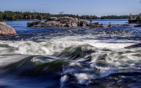 Picture trees, river, stones, rocks, island, stream