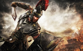 Picture Marius Titus, X-ONE, clouds, Marius Titus, Crytek, Ryse: Son of Rome, warrior, rain, sword, Microsoft ...
