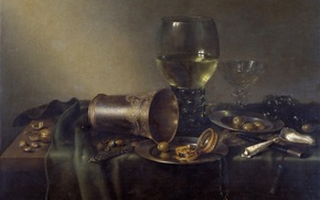 Picture picture, table, Cup, Still life with a Silver Vase and a Clock, Willem Claesz Heda, …