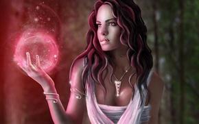 Picture girl, decoration, magic, ball, art, pendant, sphere, amulet, Jenny Laatsch