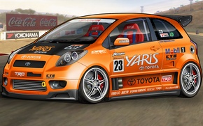 Picture tuning, art, Toyota, dangeruss, Yaris, subcompact car