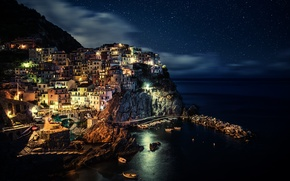 Picture sea, light, the city, mountain, the evening, lights, Italy