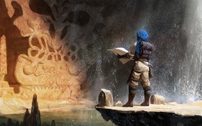 Picture water, squirt, stones, stone, waterfall, map, art, mug, cave, sculpture, backpack, traveler, scroll, turban, Arab