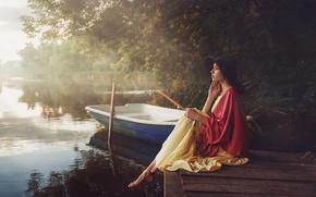 Wallpaper girl, trees, reverie, pose, fog, green, sweetheart, boat, clothing, portrait, hat, dress, touch, river, the ...