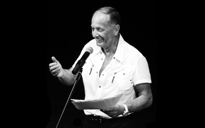 Picture smile, b/W, male, microphone, black background, writer, black and white, comedian, mr mihail zadornov, playwright, …